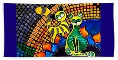 Cheer Up My Friend - Cat Art By Dora Hathazi Mendes Beach Sheet by Dora Hathazi Mendes