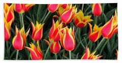 Cheerful Spring Tulips Beach Towel