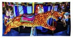 Cheetah Carrousel Ride Beach Towel