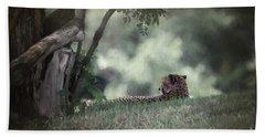 Cheetah On Watch Beach Sheet