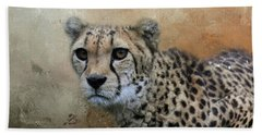 Cheetah Portrait Beach Sheet by Eva Lechner