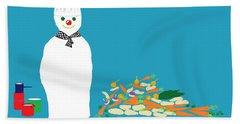 Beach Towel featuring the digital art Chef Snowman by Barbara Moignard