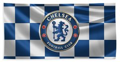 Chelsea F C - 3 D Badge Over Flag Beach Towel by Serge Averbukh