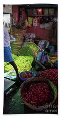 Beach Towel featuring the photograph Chennai Flower Market Busy Morning by Mike Reid