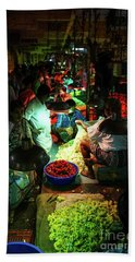 Beach Towel featuring the photograph Chennai Flower Market Stalls by Mike Reid