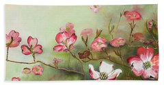 Beach Towel featuring the painting Cherokee Dogwood - Brave- Blushing by Jan Dappen