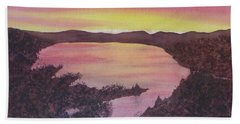 Beach Sheet featuring the painting Cherokee Lake Sunset Number Seven by Joel Deutsch