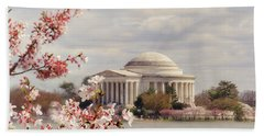 Cherry Blossom And Jefferson Beach Towel by Rima Biswas