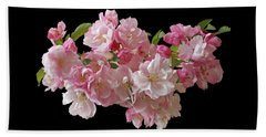 Cherry Blossom On Black Beach Towel by Gill Billington