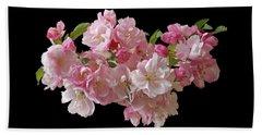 Cherry Blossom On Black Beach Sheet by Gill Billington