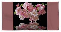 Cherry Blossom Reflections On Black Beach Towel by Gill Billington