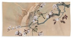 Cherry Blossom Tree And Two Birds Beach Towel