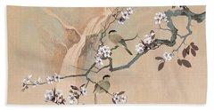 Cherry Blossom Tree And Two Birds Beach Sheet