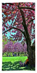 Cherry Blossom Trees Of B B G # 9 - Photopainting Beach Towel