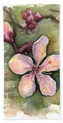 Cherry Blossom Watercolor Beach Towel