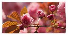 Cherry Blossoms Beach Sheet by Judy Palkimas