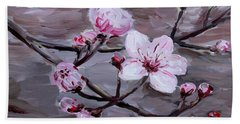 Beach Towel featuring the painting Cherry Blossoms by Maria Langgle