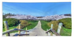 Cherry Blossoms Park Beach Towel by Nadia Sanowar