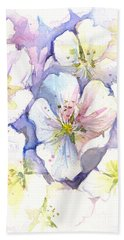 Cherry Blossoms Watercolor Beach Towel