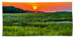 Cherry Grove Marsh Sunrise Beach Towel