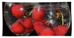 Beach Towel featuring the photograph Cherry In Glass by Elvira Ladocki