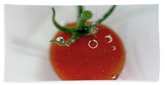 Beach Towel featuring the photograph Cherry Tomato In Water by Yumi Johnson