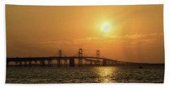 Chesapeake Bay Bridge Sunset I Beach Towel