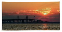 Chesapeake Bay Bridge Sunset 3 Beach Towel