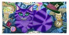 Beach Towel featuring the painting Cheshire Cat - Alice In Wonderland by Carrie Hawks