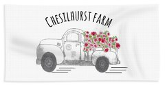 Beach Towel featuring the drawing Chesilhurst Farm by Kim Kent