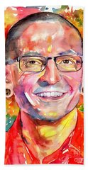 Chester Bennington Watercolor Beach Towel