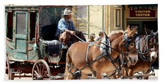 Chestnut Horses Pulling Carriage Beach Sheet