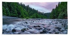 Chetco River Sunset 2 Beach Sheet by Leland D Howard