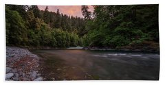 Chetco River Sunset Beach Towel by Leland D Howard