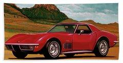 Chevrolet Corvette Stingray 1971 Mixed Media Beach Towel