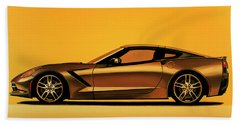 Chevrolet Corvette Stingray 2013 Painting Beach Towel