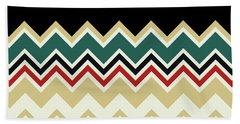 Chevron Beige Forest Green Red Black Zigzag Pattern Beach Towel