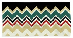Chevron Beige Forest Green Red Black Zigzag Pattern Beach Towel