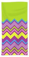Chevron Bright Green Yellow Blue Purple Zigzag Pattern Beach Sheet