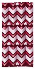 Chevron Hearts Metallic Ruby Red Pink Zigzag Beach Towel