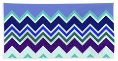 Chevron Lavender Turquoise Blue Purple Zigzag Pattern Beach Towel