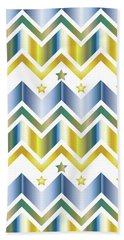 Chevron Metallic Gold Blue Green Gradation Stars Pattern Beach Towel