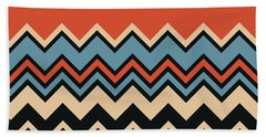 Chevron Orange Blue Beige Black Zigzag Pattern Beach Towel
