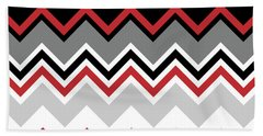 Chevron Red Grey Black White Zigzag Pattern Beach Sheet