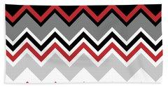 Chevron Red Grey Black White Zigzag Pattern Beach Sheet
