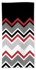 Chevron Red Grey Black White Zigzag Pattern Beach Towel