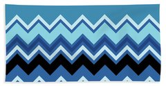 Chevron Summer Cobalt Sapphire Blue Black Zigzag Pattern Beach Towel