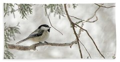 Chicadee In A Snow Storm  Beach Towel