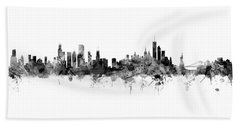 Chicago And New York City Skylines Mashup Beach Towel