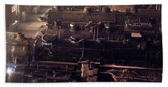 Beach Towel featuring the painting Chicago And North Western Railroad Locomotive Shops At Chicago by Artistic Panda